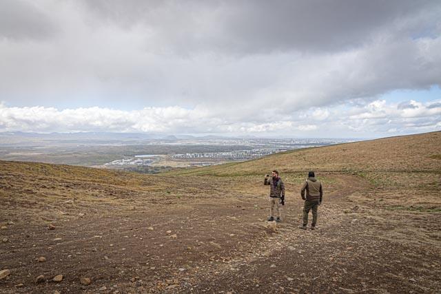 Davíð A. Stefánsson og Jóhann H. Stefánsson við Gps mælingar á Úlfarsfelli
