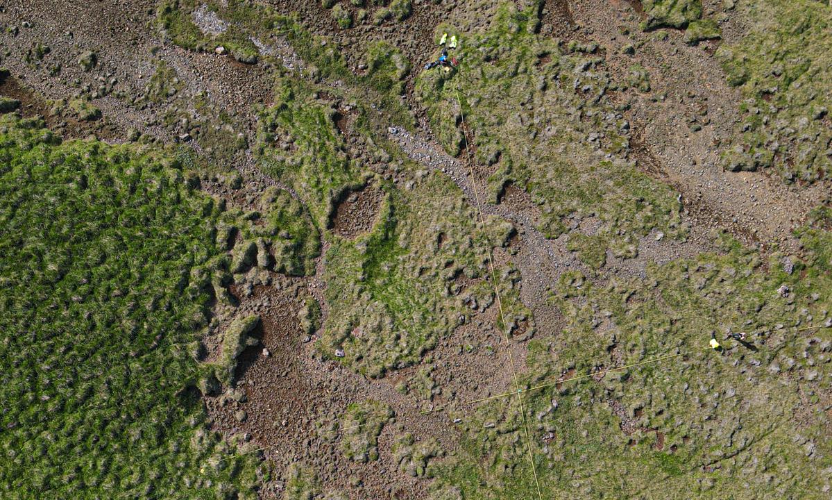 Reitirnir eru mældir út á fjölbreyttu landi og eru 50 x 50 metrar að stærð.